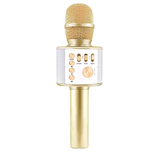 Wireless Karaoke Microphone for Kids Wireless Microphone with Speaker Portable Microphone for Singing Handheld Wireless Mic Machine Birthday Parties Home KTV Mic for IOS and Android (Gold)