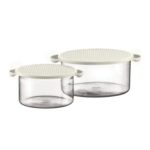 Bodum Hot Pot 2 Piece Glass Bowl Set with White Silicone Lids Bodum Glass Bowls