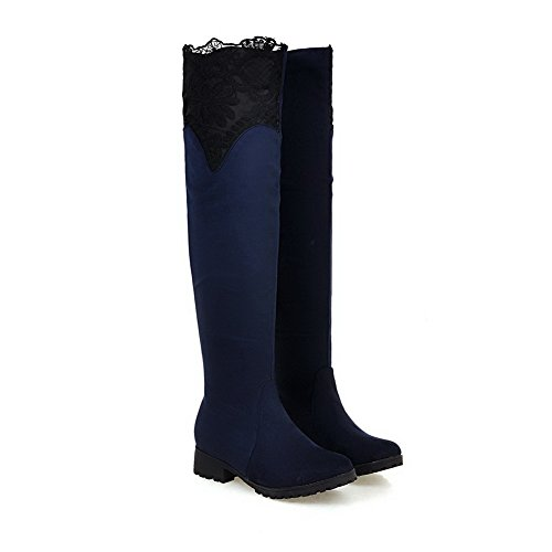 Round M Suede 9 Toe Heels Blue Womens Assorted B BalaMasa ABL09719 US nbsp;Color Hollow Boots Low Out ABZXq