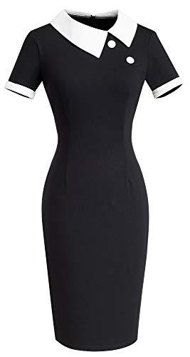 Sheath Wiggle - HOMEYEE Women's Retro Chic Colorblock Lapel Career Tunic Dress B238(X-Large,Black-Short Sleeve)