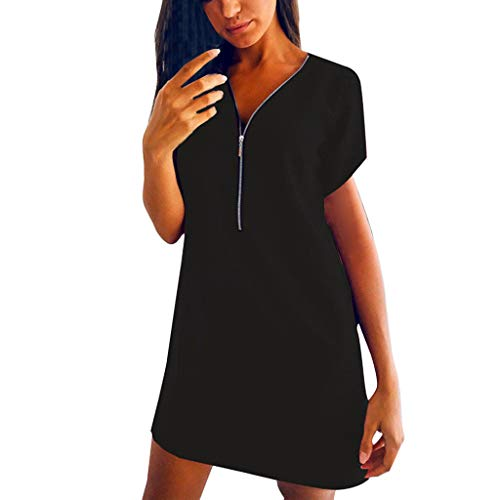 (Womens Shirt Dress Short Sleeve V Neck Zipper Front Loose Party Evening Mini Dresses Black)