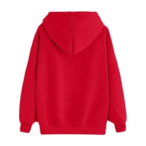 T Felpe Tumblr Stampa shirt Blouse GirlsFossen Teen HoodedEmoticon Top lunga Red manica Woman OXPiTZku