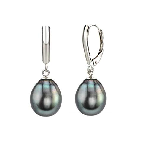 14K Gold Drop Tahitian South Sea High Luster AA+ Cultured Pearl Leverback Earrings (white-gold, 8.0-9.0mm)