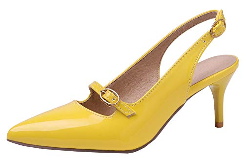Mofri Women's Sexy Buckle Double Strap Pointed Toe Slingback Stiletto Mid Heel Pumps Sandals (Yellow, 10 M US)