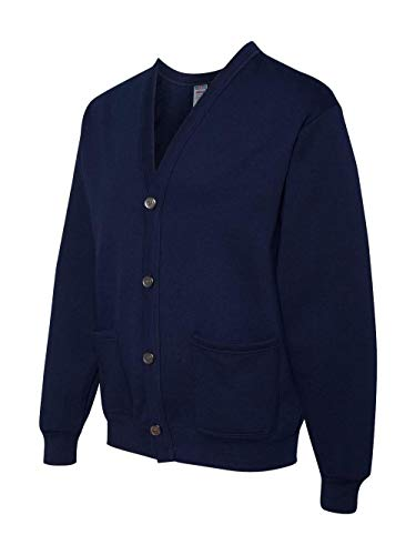 Jerzees mens 8 oz. 50/50 NuBlend Cardigan(773M)-J NAVY-L/XL