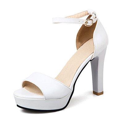 LvYuan Tacón Robusto-Zapatos del club D'Orsay y Dos Piezas-Sandalias-Boda Oficina y Trabajo Vestido-Cuero Patentado-Negro Blanco Plata Beige Silver