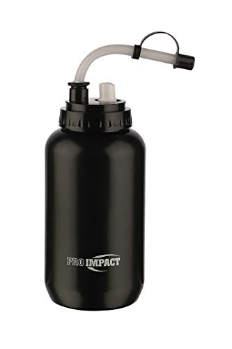 (Pro Impact Boxing Water Bottle - Squeezable Plastic w/Long Straw - Ideal for Baseball Gym Yoga Sports Boxing Lacrosse Cycling Outdoors Football Hockey (35.5 Oz.) (Black with)