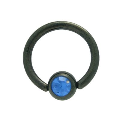 BodyJewelryOnline Captive Bead Ring 14ga Jeweled Bead Black Anodized Titanium ()