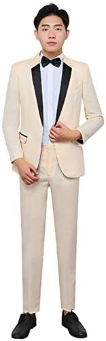 スーツ メンズ スーツセット 2点セット スリムスーツ スタイリッシュ カジュアルスーツ メンズ 紳士礼服フォーマルスーツ 演出服 ステージ衣装 忘年会 新年会 学園祭 演劇オペラ声楽 パーティー カラオケ 司会者 (ベージュ, XXL)