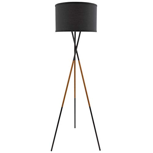 "Kira Home Sadie 61"" Mid Century Modern Tripod LED Floor Lamp + 9W Bulb (Energy Efficient/Eco-Friendly), Leather Wrapped Legs, Black Drum Shade, Black Finish"