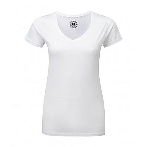 Russell - Camiseta de manga corta y cuello en V para mujer Blanco