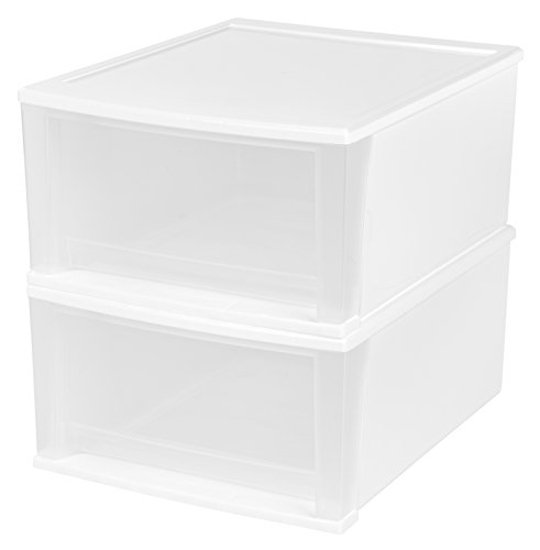 IRIS 32 Quart Stacking Drawer, 2 Pack, White (Of Drawers White Chest Plastic)