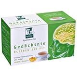 Thé pharmaceutique BADERs Mémoire. Restez en forme. Thé vert, extrait de thé vert, substance vitale gallate d'épigallocatéchine, mélisse, ginkgo, romarin. Numéro pharmaceutique centralisé : 01179490