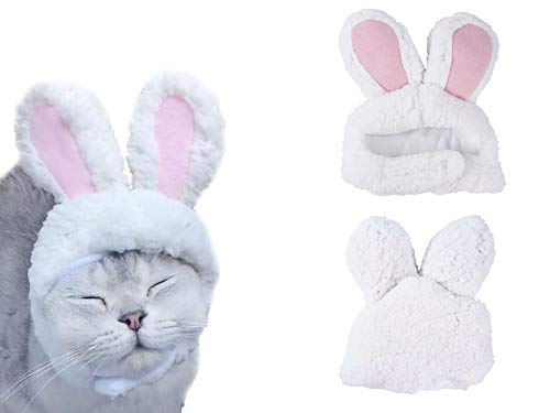 LeRich Costume Bunny Rabbit Hat with Ears for Cats & Small Dogs Party Costume Accessory Headwear