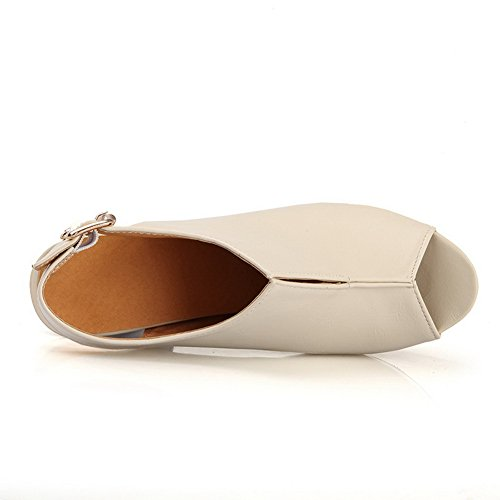 Amoonyfashion Donna Open Peep Toe Tacco Alto Piattaforma Materiale Morbido Pu Sandali Solidi Beige