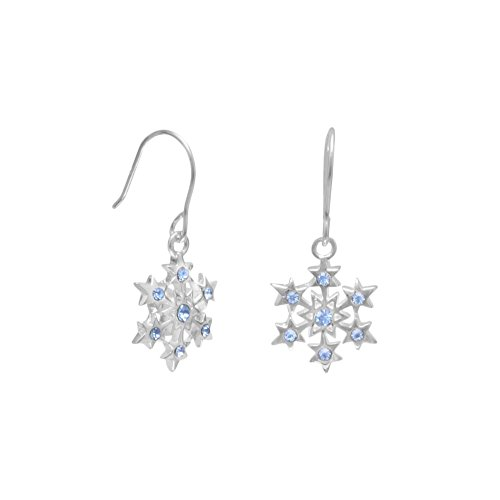 Sterling Silver Snowflake Earrings with Blue Swarovski - Sterling Silver Snowflake Winter
