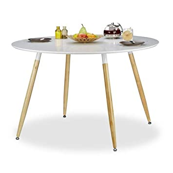 Relaxdays Table à manger ronde ARVID style scandinave 6 - 8 ...