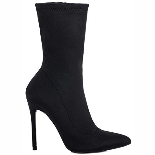 Livia À Lycra Aiguille Bottines Talon Spylovebuy Noir Chaussures Tirette Femmes HwqUSd1