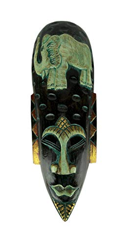 - Things2Die4 Hand Carved Wood Indonesian Jenggot Wall Mask Elephant Design