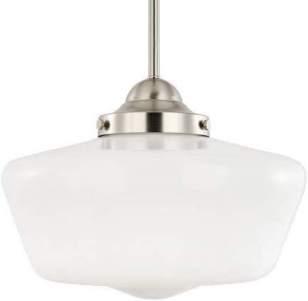 Light Society Portola Schoolhouse Pendant Light, Satin Nickel with White Opal Glass Shade, Classic Vintage Modern Lighting Fixture LS-C251-SN-WH