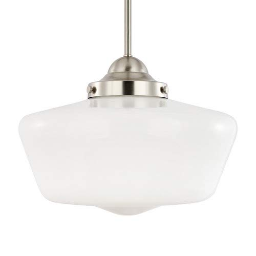 (Light Society Portola Schoolhouse Pendant Light, Satin Nickel with White Opal Glass Shade, Classic Vintage Modern Lighting Fixture (LS-C251-SN-WH))