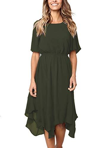 (MISSLOOK Women's Short Sleeve Midi Dress Empire Waist Summer Chiffon Dress Round Neck Asymmetrical Irregular Hem Dress - Army Green XXL )