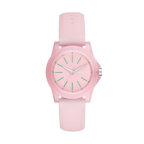 Armani Exchange Women's Quartz Plastic and Silicone Casual Watch, Color:Pink (Model: AX4361)