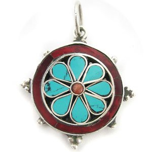 Silver dharmachakra pendant with turquoise and jasper crystal silver dharmachakra pendant with turquoise and jasper crystal aloadofball Choice Image