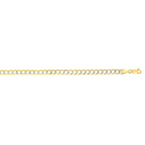 BH 5 Star Jewelry 14kt Gold Yellow+White Finish 3.6mm Diamond Cut Comfort Pave Curb Chain with Lobster Clasp (18.0)
