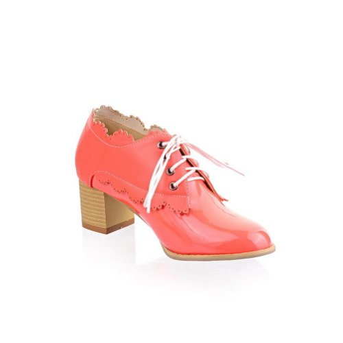 Solid Leather whith 4 M US B 5 WeenFashion Heel Round Toe Mid Bandage Pumps Patent Closed Rosered PU Women's Pq01wPzB