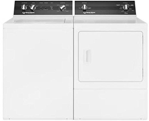 """Speed Queen White Gas Laundry Pair with TR3000WN 26"""" Top Load Washer and DR3000WG 27"""" Front Load Gas Dryer"""