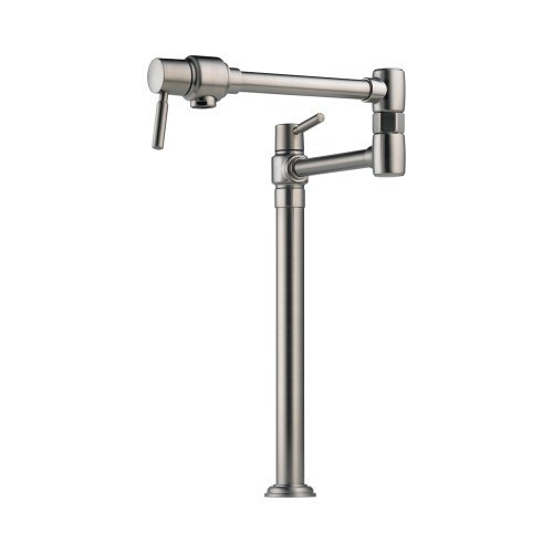 Filler Faucet Double Handle Deck Mount with Metal Lever Handles, Stainless Steel (Pot Fillers Double Handle)