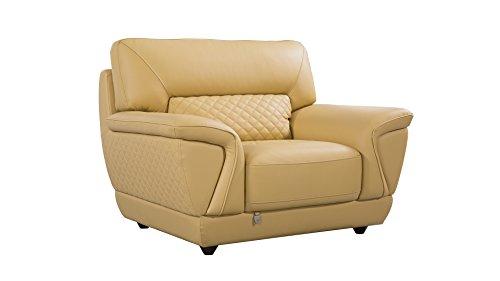 - American Eagle Furniture EK099-YO-CHR Bell Mid-Century Modern Italian Leather Living Room Chair, 49