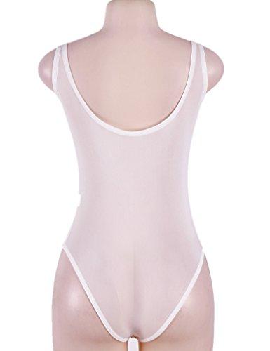 Ohyeah Body de la mujer floral bordado Sheer Mesh Tank Mono blanco