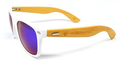 Blanco Star 2018 Irid unisex WOOD Millennium gafas colección de nueva de sol qvxgZ