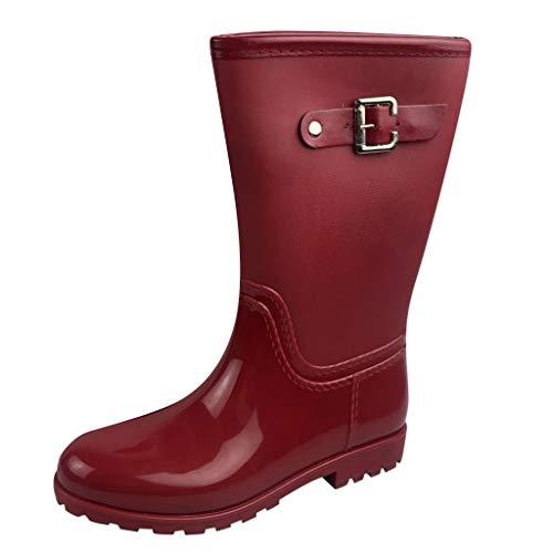 NEARTIMEWomen's Long Rain Boots-Women's Mid Snow Boots Non-Slip Rainboots Slip-On Outdoor Rubber Water Shoes