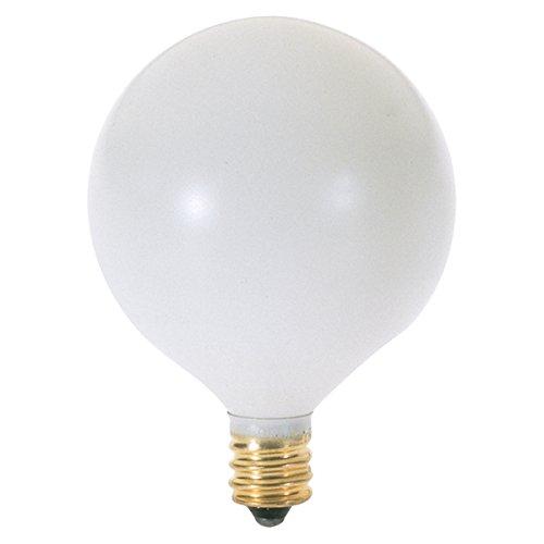 - Satco 40G16 1/2/W Incandescent Globe Light, 40W E12 G16 1/2, Satin White Bulb [Pack of 12]