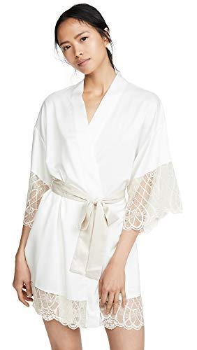 Flora Nikrooz Women's Gabby Charmeuse Robe, Ivory, Off White, X-Small ()