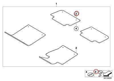 8 X BMW Genuine Floor Mats City Floor Mats Lock 22.5MM Anthr