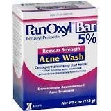 PanOxyl Bar Benzoyl Peroxide 5% Acne Wash, Regular Strength 4 oz (113 g)