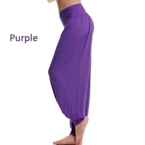 genuine 95% Modal Fabric Sports Clothes Soft Women's Yoga Wear bloomers pants (Purple, L) by wyz