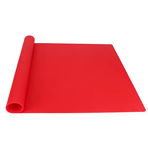 Gartful Oversize Silicone Mat for Crafts, Nonslip Nonstick Silicone Sheet for Jewelry Casting Mat, Heat-Resistant Craft Mat for Resin Casting Mold, Epoxy, Glitter Slime, Paint, Red (27.5