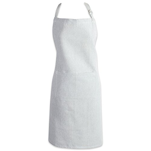 DII Cotton Adjustable Chambray Bib Chef Apron with Pockets and Extra Long Ties, 32 x 28