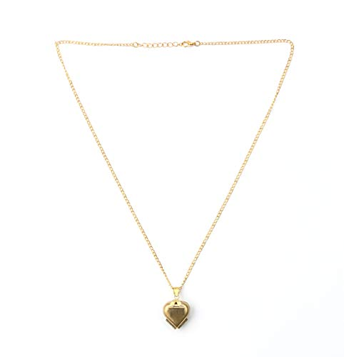 CHQCDarlys New Folding 4 Photos Album Locket Pendant Heart Four Leaf Clover Necklace Family Photo Collection (Gold)