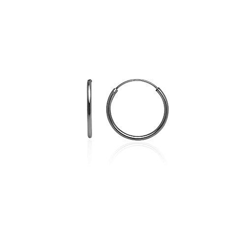 Hoops & Loops Black Tone over Sterling Silver 1.2mm Endless Hoop Earrings, (3mm Hammered Hoop Earrings)