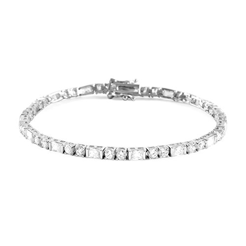 Glamouresq 925 Sterling Silver 3mm Round & Baguette Cut Cubic Zirconia CZ Tennis Bracelet, 8'' by Glamouresq