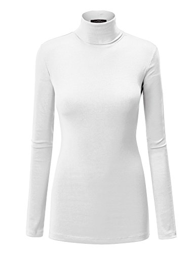 WT950 Womens Long Sleeve Turtleneck Top Pullover Sweater XXXL White