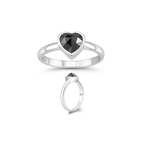 (Vogati 0.87 Cts of 5x5 mm AA Heart Rose Cut Black Diamond Solitaire Heart Ring in 14K White Gold - Valentine's Day Sale)