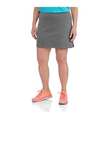 (Danskin Now Women's Plus Size Adjustable Waist Hidden Pocket Basic Knit Skort (2X Plus, Grey))