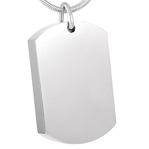 Blank Dog Tags Cremation Jewelry Pendant Free Engraving Stainless Steel Ash Urn Necklace